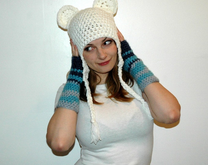 White Monkey Bear EarFlap Hat Handmade Christmas Gift Ready to ship