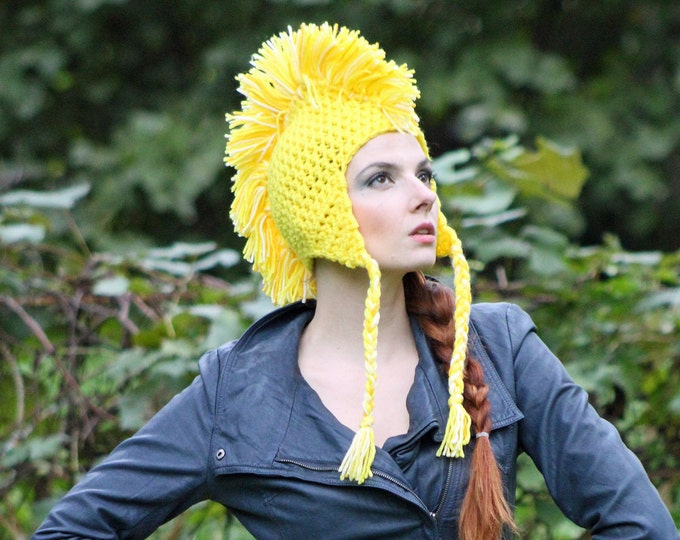 Handmade Yellow MoHawk EarFlap Hat Handmade One of a kind Gift
