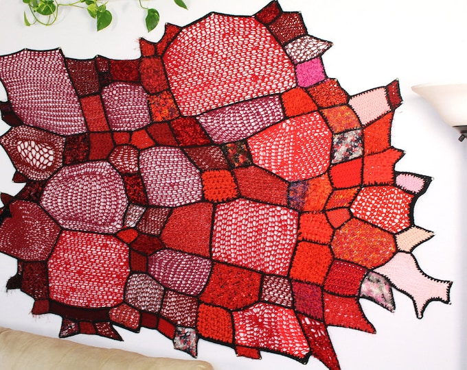 Red Ombre Wall Hanging Tapestry of Crochet Patches Asymmetrical Gradient Tissage Mural Handmade Unique One of a Kind Home Decor Crochet Art