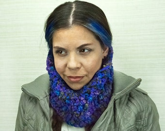 Purple Infinity Scarf Cowl Circle Neck Warmer Handmade Christmas Gift Ready to ship