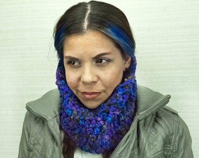 Purple Infinity Scarf Cowl Circle Neck Warmer Handmade Christmas Gift Ready to ship