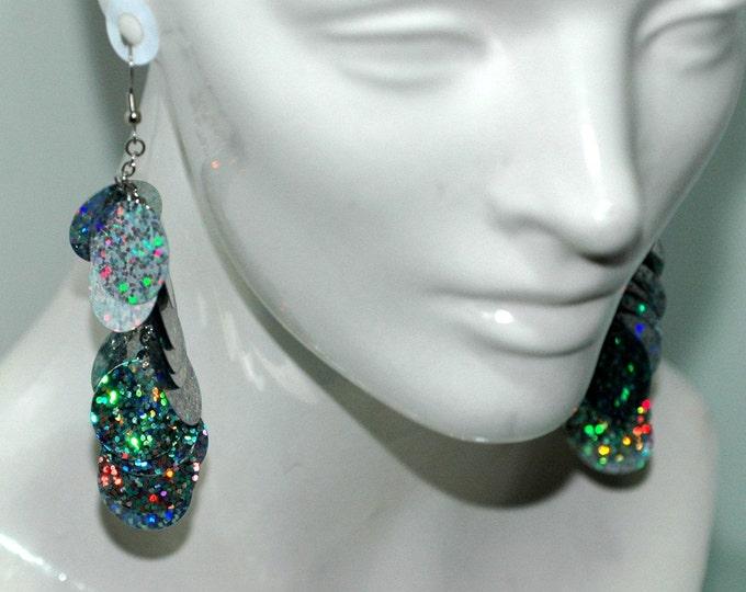 Shimmery Silver Disk Dangle Earrings