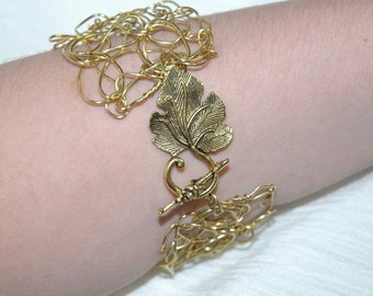 Golden Leaf Clasp Bracelet