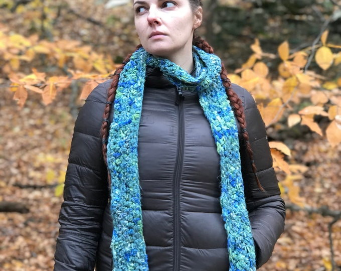 Blue Scarf Teal Soft Neckwarmer Handmade Crochet Gift Ready to ship