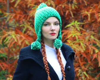 Green Pom Hat Pixie Elven Earflap  Ombre Beanie Hat Crochet Handmade Gift for Him or Her