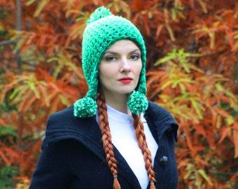 Green Pom Hat Pixie Elven Earflap  Ombre Beanie Hat Crochet Handmade Gift for Him or Her