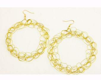 Gold Crochet Hoop Circle Wire Earrings