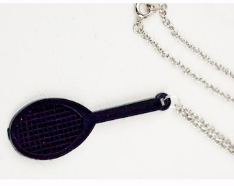 Black Tennis Racket Necklace or Earrings Set