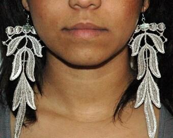 Long Bridal Lace Fabric Earrings Gift for Women Girlfriend Lightweight Dangle Jewelry