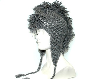 Grey Mohawk EarFlap Hat Boyfriend Girlfriend Gift