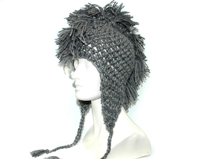 Grey Mohawk EarFlap Hat Boyfriend Girlfriend Gift