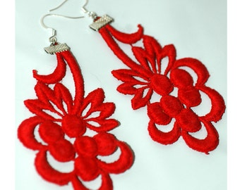Red Lace Fabric Earrings