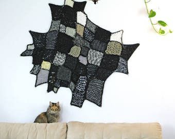 Black Yarn Modern Fiber Art Ombre White Patch Asymmetrical Tapestry Tissage Mural Wall Hanging Handmade Interior Home Decor Crochet Knit