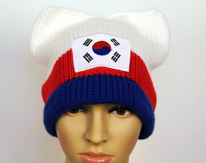 South Korean Flag Pussy Hat! Cat Kitten Ear Hat Gift Women's Rights March on Washington Protest Resist Trump Anti War White Red Blue