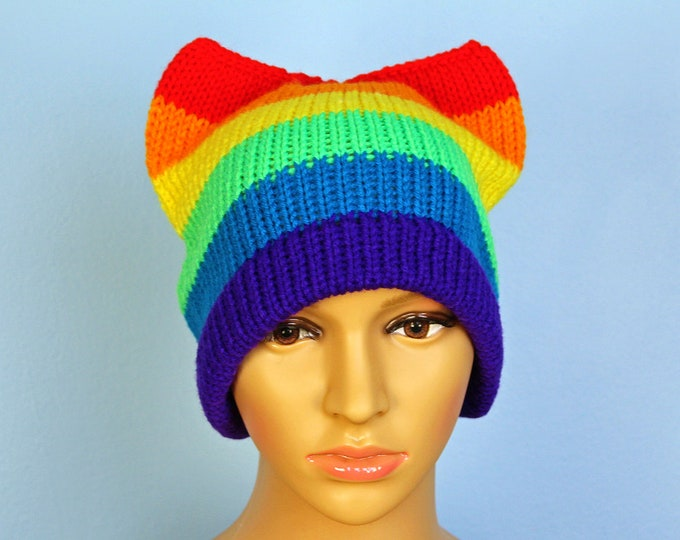 Rainbow Pussy Hat!  LGBTQ Pride Slouchy Cap Cat Kitten Ear Hat Women's Rights March on Washington Pride Parade Gay Lesbian Trans Queer