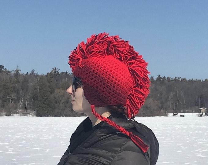 Red Fade Ombre Mohawk EarFlap Hat Boyfriend Gift Handmade Christmas Gift