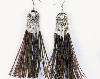 Celtic Circle Peacock Feather Drop Dangle Statement Earrings Handmade Christmas Gift Ready to Ship