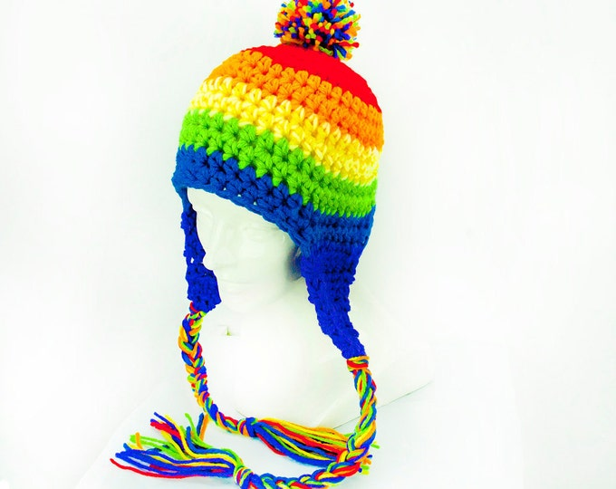 Striped PomPom Rainbow  Earflap Hat