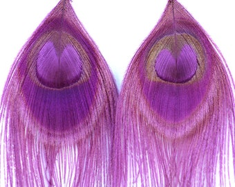 Purple Peacock Feather Earrings Handmade Boho Chic Music Festival Gear Girlfriend Gift Ready to ship
