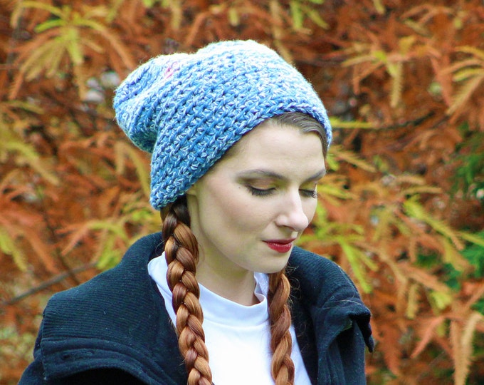 Slouch Baby Blue Pom Pom Beani Skullcap Warm Winter Hat Ready to Ship Gift