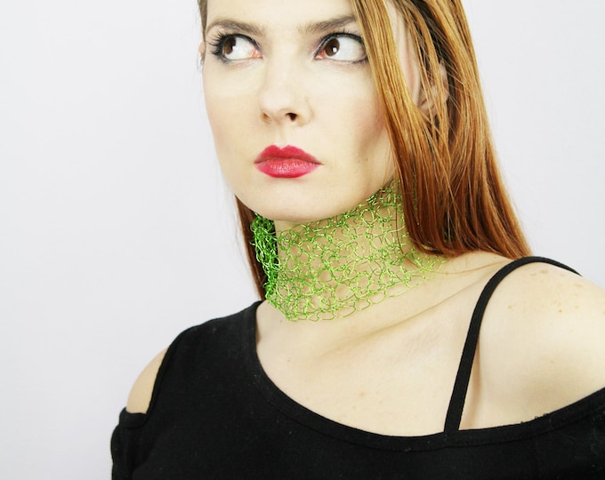 Green Necklace Crochet Wire Lace Choker  Boho Chic