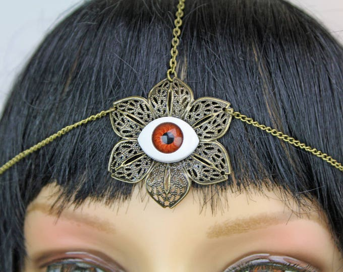 3rd Eye Head Hair Chain Jewelry For Flower Child and Psychedelic Boho Chic Hippie Chick Music Festival Gear Halloween Gift Idea Costume