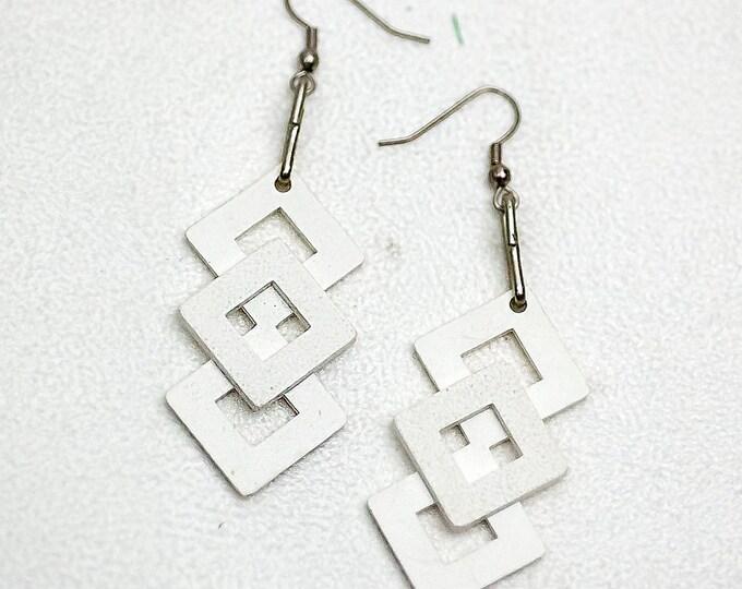 Geometric White  Earrings Diamond Square Chevron Stack Dangle Gift for GirlFriend
