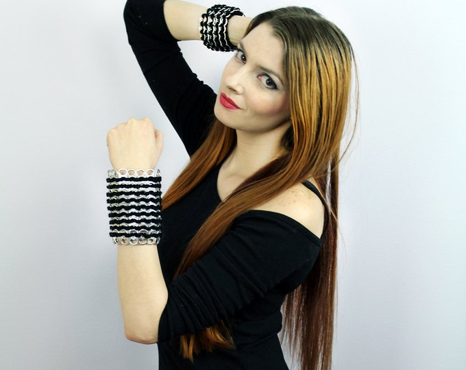 Black and Silver Crochet Bracelet Pop Tab Bracelet Chainmaille Cuff Bracer