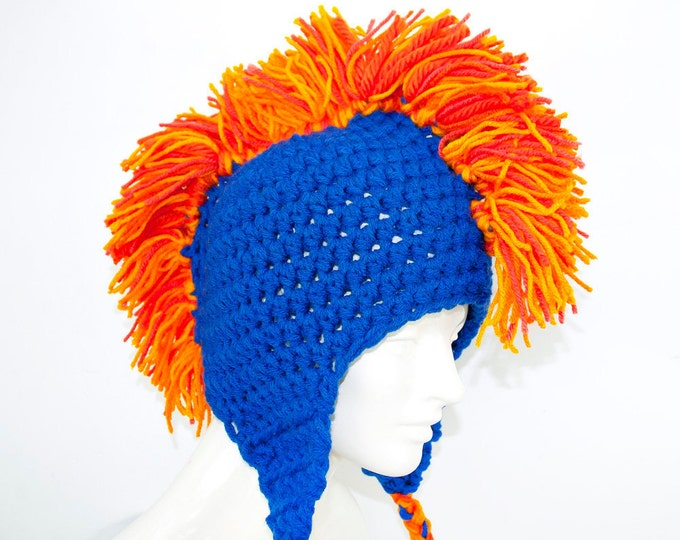 Blue and Orange Mohawk Earflap Hat Chicago Bears Colors Handmade Gift