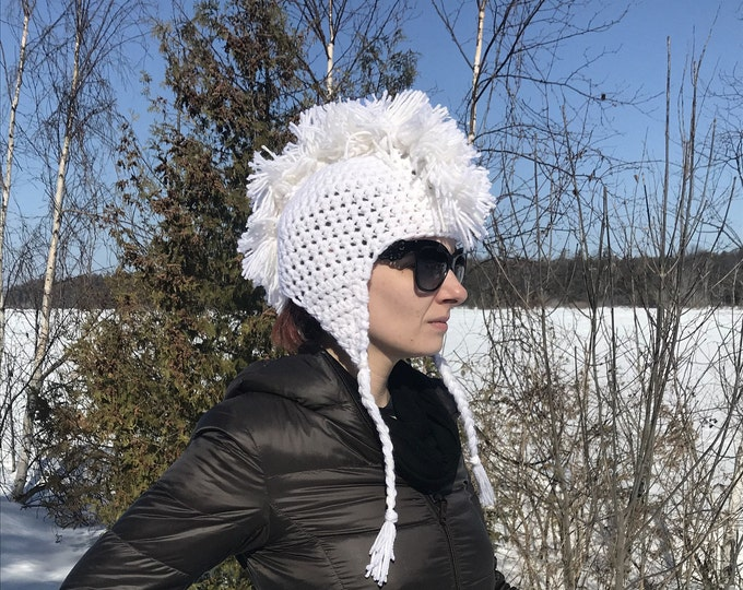 White Mohawk Ear Flap Hat Handmade Crochet Christmas Gift Ready to ship