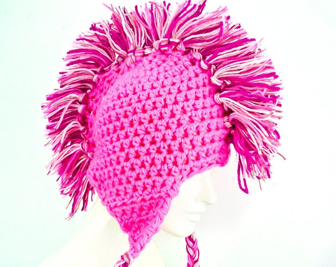 Girl's Pink Mohawk Ear Flap Hat