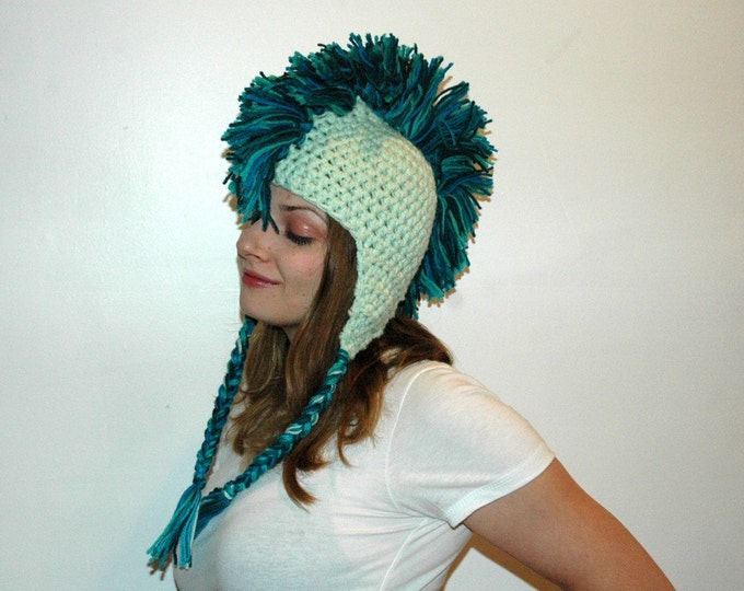 SeaFoam Mermaid Teal and Blue Mohawk Hat Handmade Christmas Gift Ready to ship