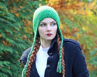 Green2 Toned  EarFlap Hat Handmade One of a Kind Crochet Gift for Men Women or Teens