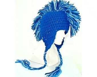 Blue Mohawk Ear Flap Hat Adult Size Boyfriend Gift