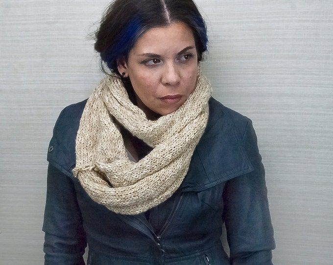 Beige and Tan Circle Cowl Scarf