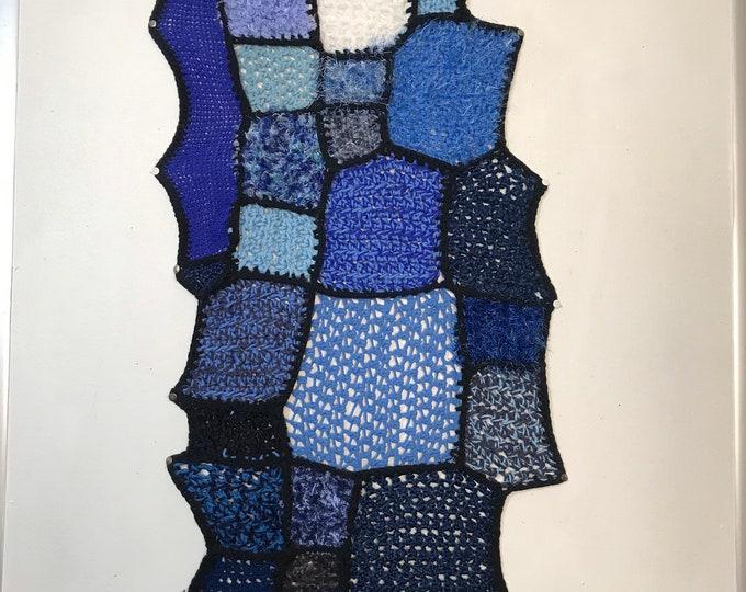 Blue Ombré Patch Tapestry Rectangular Fiber Art Wall Hanging Sound Absorbing Textile