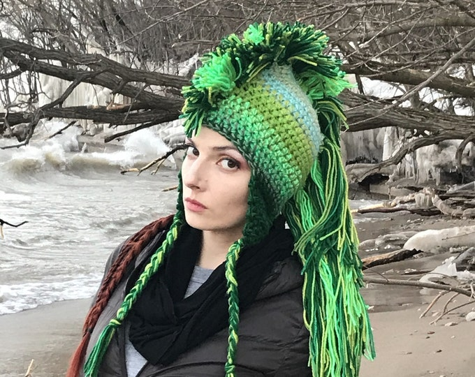 Green Mohawk  Earflap Hat Ombre Tones Extreme Long Faux Hair Gradient Color Trapper Unisex Handmade Christmas Gift  Statement Adult