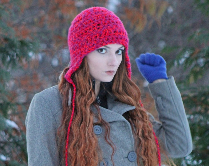 Fuzzy Soft Pink EarFlap Hat For Girls Teens Or Women Gift for Her