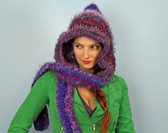 Dark Purple Hooded Scarf Snood Skood Handmade Christmas Gift Ready to ship  Cozy Warm Hat Hood Girlfriend Gift