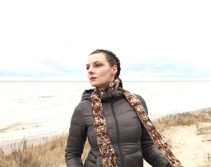Brown Scarf  Earthy Long and Soft  Handmade Christmas Gift for Men and Women