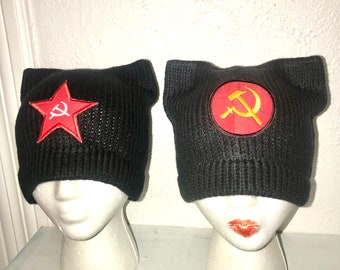 Commie Cat Pussy Hat Hammer Sickle Communist Kitten Winter Protest Cap Ear Slouchy Toque Women's Rights March