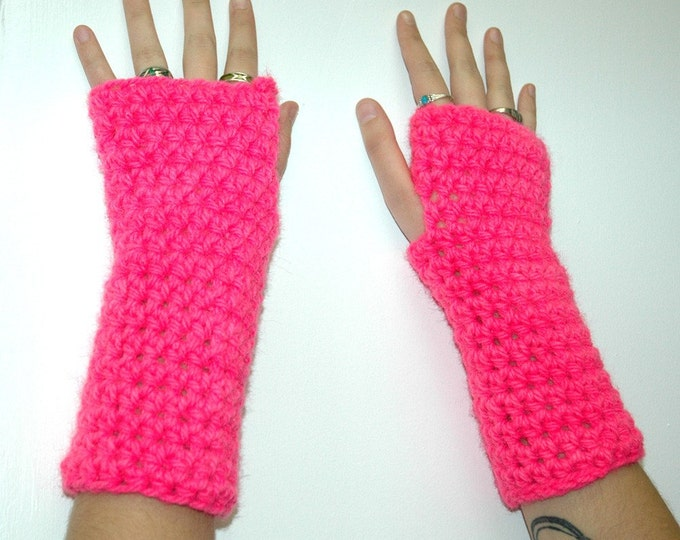 Hot Pink Fingerless Gloves Handmade Christmas Gift
