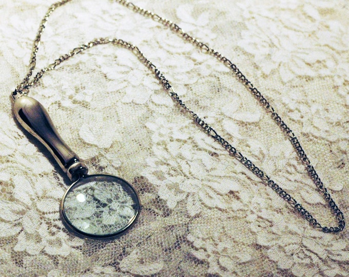 Magnifying Glass Necklace Great Gift for Reading Aide Grandmother or Grandfather Ready to ship Functional Velma Jewelry Scooby Doo