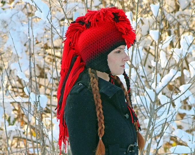 Red to Black Ombre Fade Mohawk Hat Extreme Style Handmade Christmas Gift Ready to ship