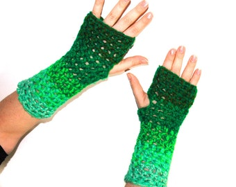 Green Ombre Fingerless Gloves Handmade Christmas Gift Ready to ship