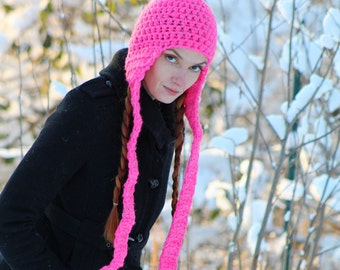 Hot Pink Long Ear Flap Hat Beanie Scarf Gifts for Her Stocking Stuffer Ready to  Ship  back to school