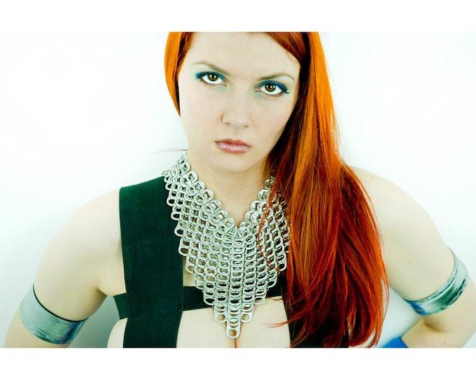 Silver V-line ChainMaille Pop Tab Grunge Gothic Steam Punk Statement Necklace Aroow Chevron Gift for Girlfriend Best Friends