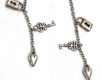 Key to My Heart Earrings Lock N Key Dangle  Boho Hippie  Valentines Gift