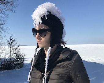 Black Earflap Hat with White Mohawk Handmade Gift Stocking Stuffer Gift for Boys and Girls Women and Men