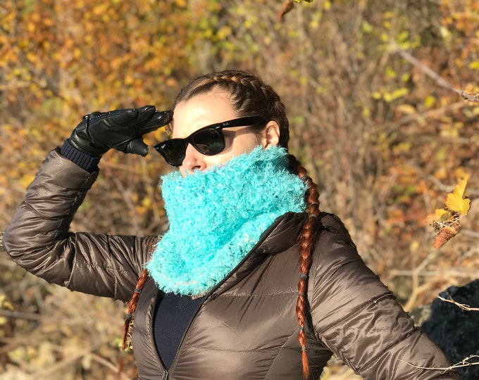 Fuzzy Scarf Teal  Circle Cowl Blue Neck warmer Infinty Scarf